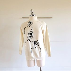 Cream Colored Abstract Art Sweater
